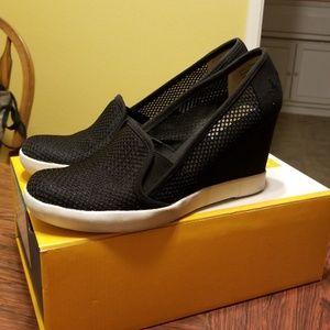 Black sneaker wedges